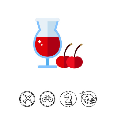 Cherry beer in wineglass icon Illustration