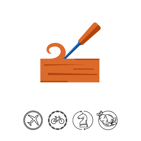 Chisel carving wood icon