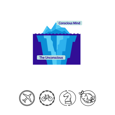conscious: Conscious and unconscious mind icon Illustration
