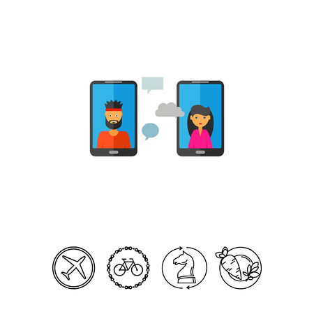 woman cellphone: Conversation via Mobile Phones Icon Illustration