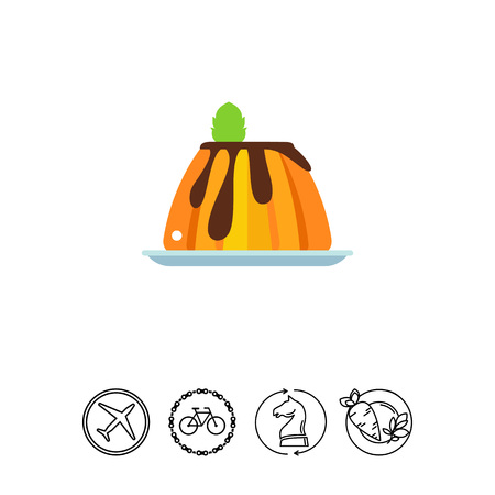 Creamy caramel flan dessert with mint icon Illustration