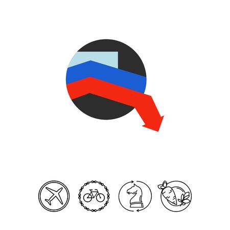 Crisis in Russia vector icon