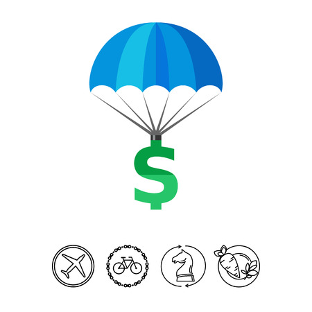 Dollar Sign Parachuting Icon