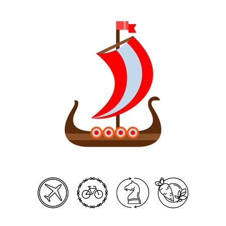 Drakkar Viking ship vector icon