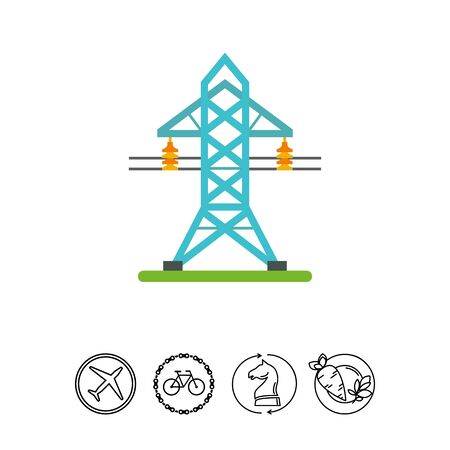 Icon of electricity transmission tower. Energy, power station, current. Electricity concept.