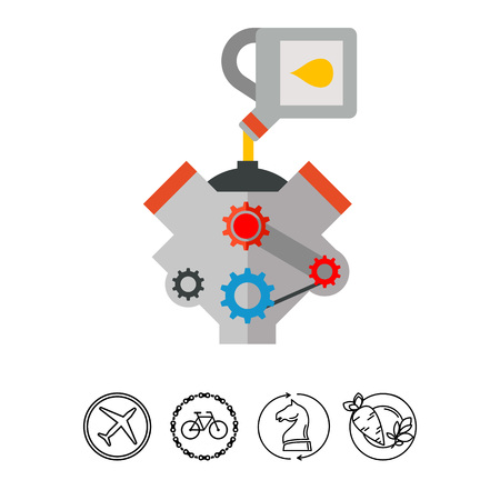 Icon of engine motor change oil. Pouring, repair, automobile. Oil concept.