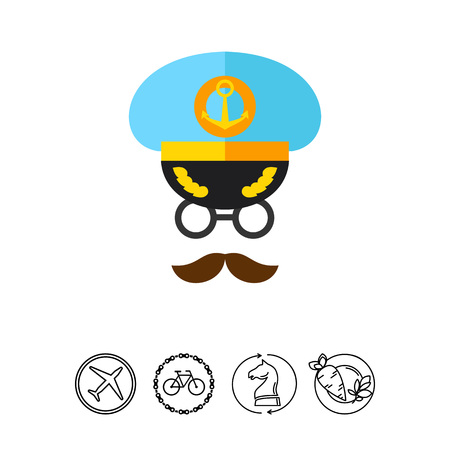 Icon of captain face. Navigation, seaman, seafarer. Occupation concept. Can be used for topics like cruise, navy, traveling Illustration