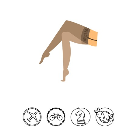 A Vector icon of female legs in nylon stockings. Underwear, retro style, pantyhose. Casual clothes concept. Can be used for topics like female fashion, accessories, lingerie.