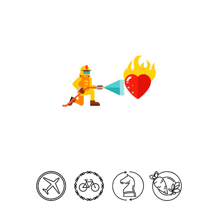 Fireman Extinguishing Burning Heart Icon