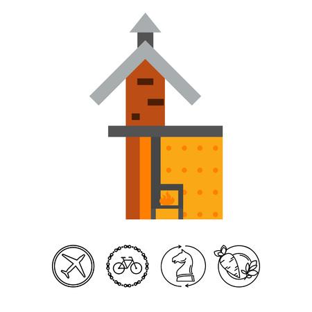 Fireplace scheme icon Illustration