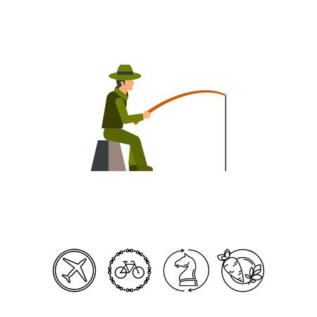 Fisherman sitting with fishing rod icon Illustration