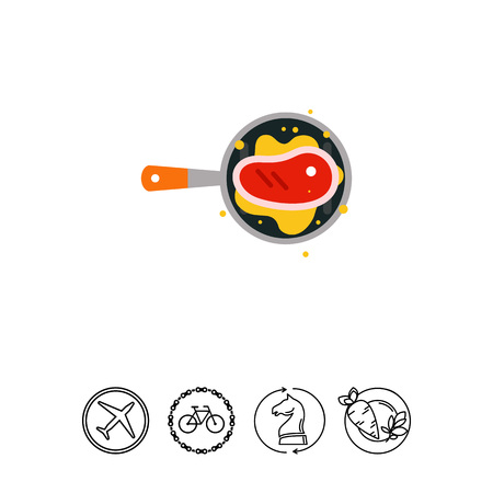 Fried piece of meat in oil icon Illustration
