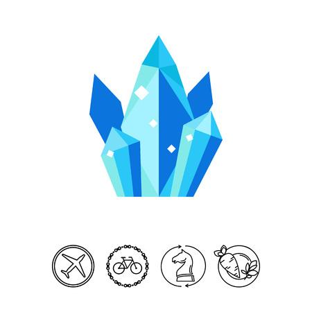 gemstone: Group of shiny quartz crystals icon Illustration