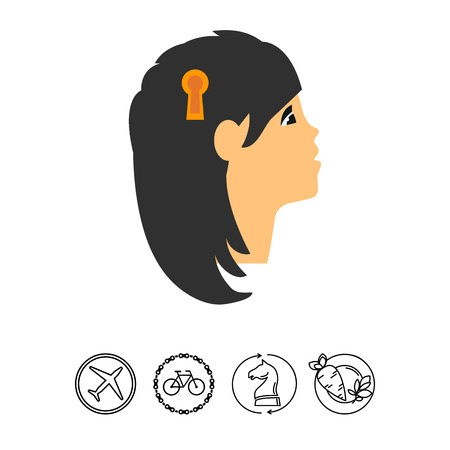 Head with keyhole as personality concept Çizim