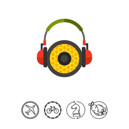 logo music: Headphones with Speaker Icon Illustration