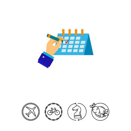 Hand ticking off schedule vector icon