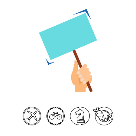 Hand holding protest banner vector icon