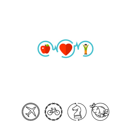 health and fitness: Healthy Food, Sport and Healthy Heart Icon