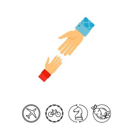 Helping hand icon Illustration