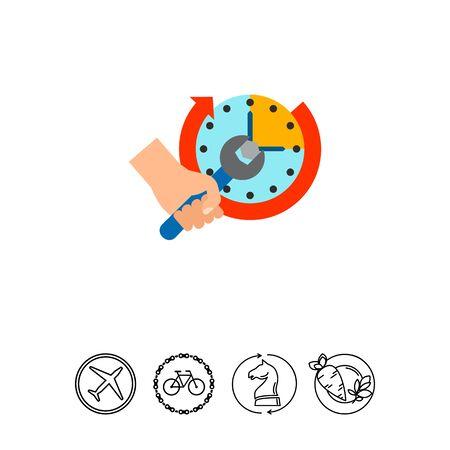 Hand setting clock vector icon