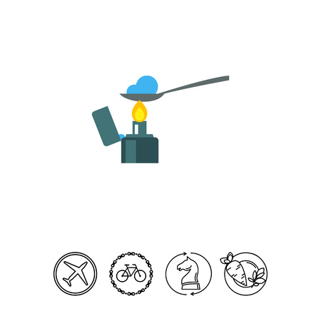 blue flame: Heroin in spoon over lighter vector icon Illustration