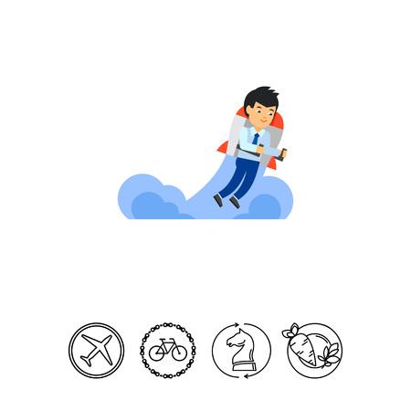man flying: Innovation Technology Icon Illustration