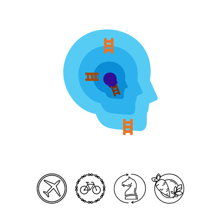Human head with ego structure icon