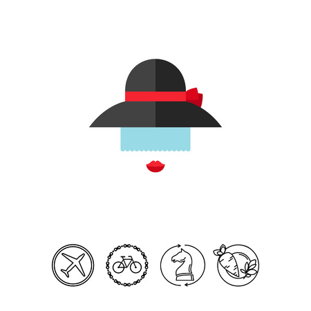 modest fashion: Lady in black hat icon