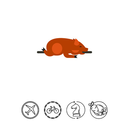 spit: Lechon dish icon Illustration