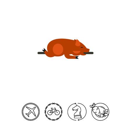Lechon dish icon Illustration