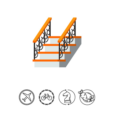 Ladder with forged fence banister icon