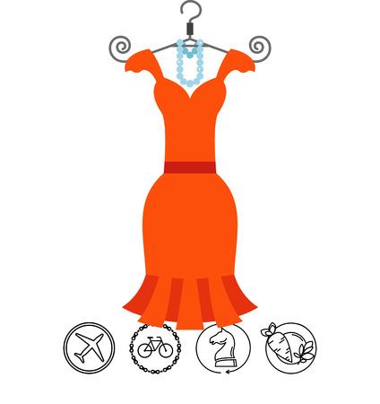 Little orange dress with beads on hanger