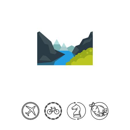 Majestic Geiranger fjord icon Imagens - 79034863