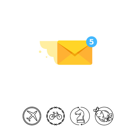 Mail Message Flying Vector Icon