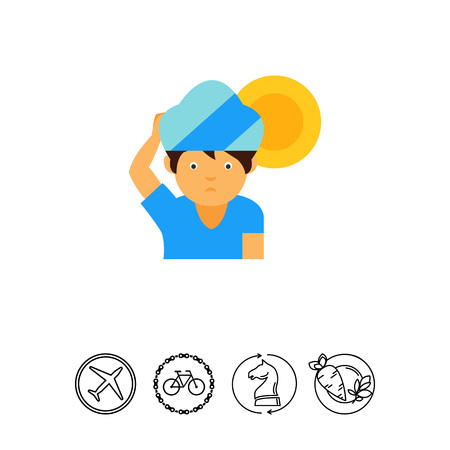 Man in shade icon Illustration