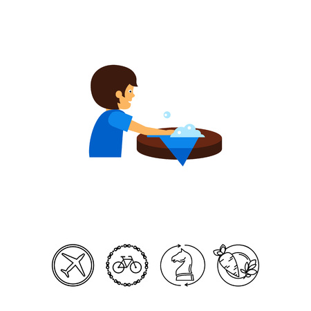 Man wiping out spill on table vector icon Illustration