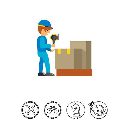 sealing: Man working in packing distribution center Illustration
