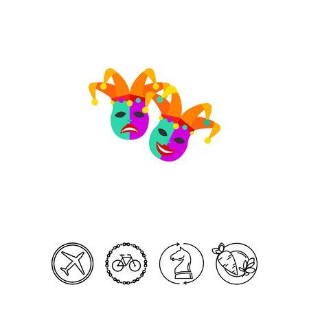 Mardi Gras tragedy and comedy masks icon