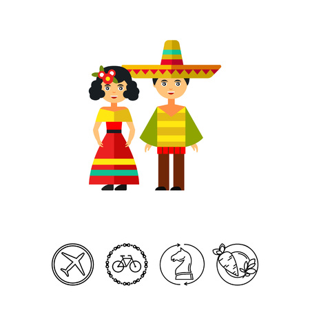traje mexicano: Mexican woman and man in national costumes Vectores