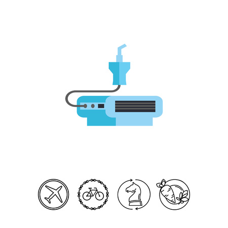 Icono del dispositivo nebulizador. Inhalación, sistema de aerosol, oxígeno. Concepto de la medicina. Puede usarse para temas como tratamiento, enfermedades respiratorias o salud