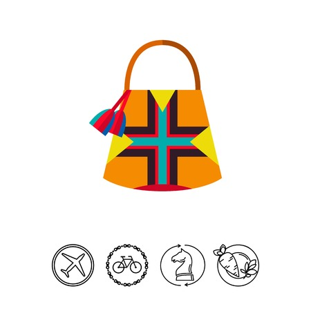 Icon of colorful Mochila bag. Female accessory, satchel, backpack. Colombia concept. Can be used for topics like summer, style or fashion