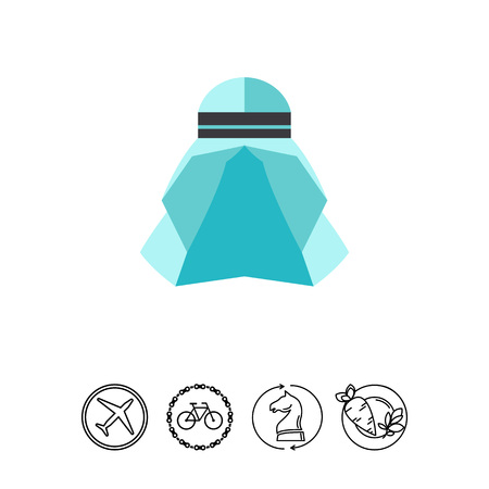 Icon of Muslim hat. Blue headwear, hijab, veil. Islam culture concept. Can be used for topics like religion, clothing or style