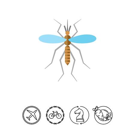色とりどりのベクター アイコン ofmosquito と血ドロップ、トップ ビュー  イラスト・ベクター素材