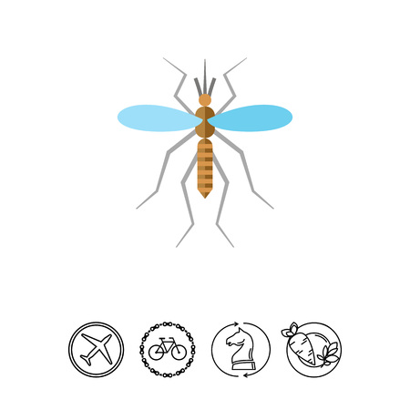 Multicolored vector icon ofmosquito and blood drop, top view Illustration