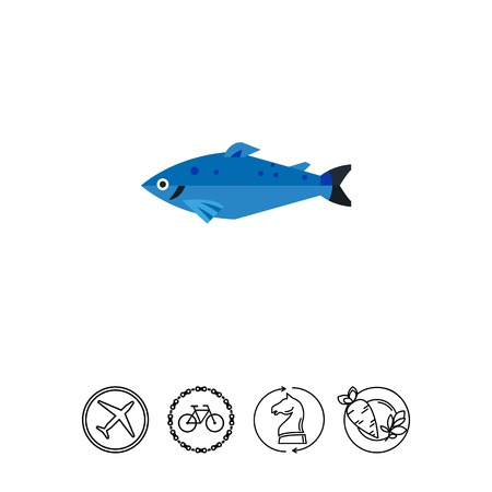 Icon of Norwegian salmon. Blue fish, eating, fishing. Norwegian culture concept. Can be used for topics like food, nature, environment or fauna