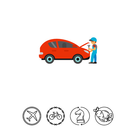 Icon of mechanic opening hood to fix car engine. Service, technician, maintenance. Automobile repair concept. Can be used for topics like garage, car diagnostic, job