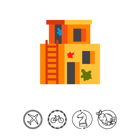 Vector icon of derelict building as paintball playing area. Team game, training area, outbuilding. Paintball concept. Can be used for topics like activity, leisure, entertainment