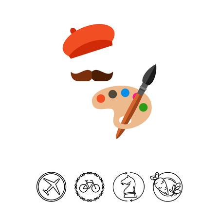 Illustration of painter hat with moustache, palette and brush. Painter silhouette, occupation, art, creativity. Art concept. Can be used for topics like occupation, art, creativity Illustration