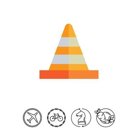 Multicolored vector icon of striped orange and white traffic cone