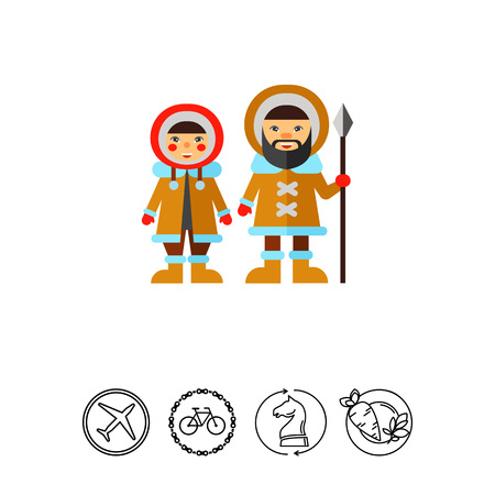 fur hood: Two Eskimos Icon